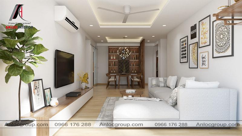 Mẫu 17 - Phòng khách chung cư đẹp hiện đại với tone màu trắng nhẹ nhàng