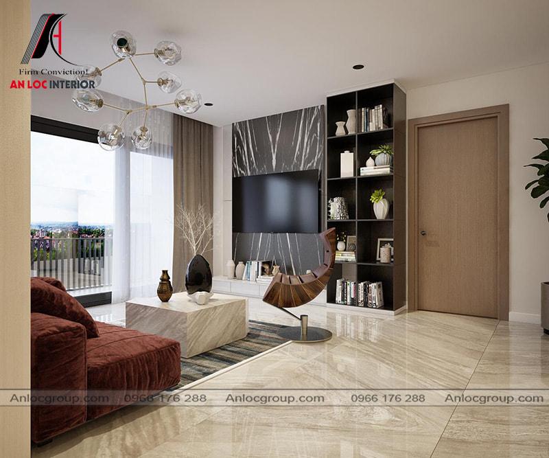Mẫu 18 - Thiết kế phòng khách chung cư hiện đại với chất liệu đá tự nhiên và gỗ công nghiệp cao cấp
