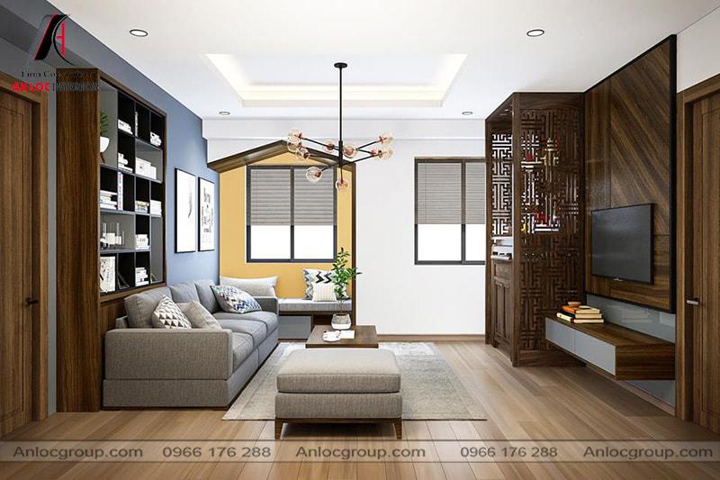 Mẫu 20 - Đèn trần phòng khách chung cư trở thành điểm nhấn cho không gian