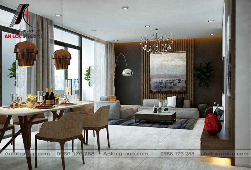 Mẫu 21 - Thiết kế phòng khách liền bàn ăn tiết kiệm diện tích
