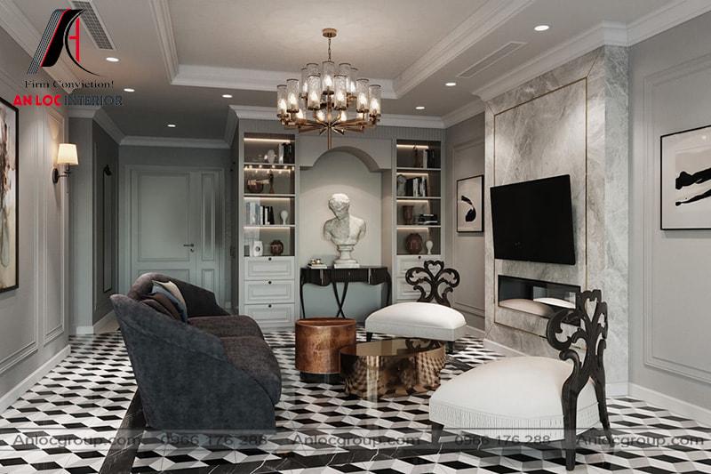 Mẫu 28 - Phòng khách chung cư tân cổ điển với tone màu trầm
