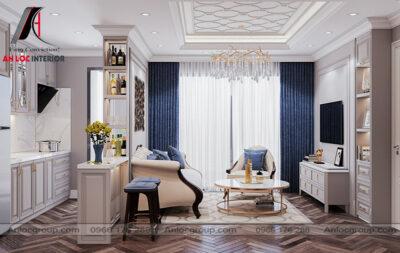 nội thất phòng khách chung cư tân cổ điển