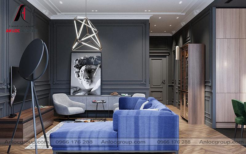 Mẫu 33 - Phòng khách chung cư tân cổ điển với tone màu tối