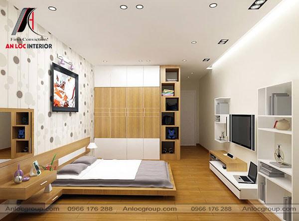Phòng ngủ nhà ống gỗ công nghiệp
