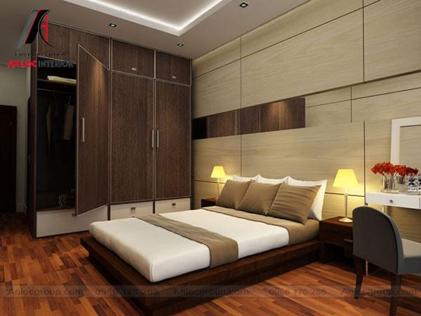 Thiết kế phòng ngủ nhà ống với tone màu tối