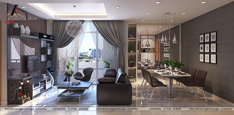 Mẫu 9 - Sofa da màu nâu trở thành điểm ngăn cách giữa phòng khách và bàn