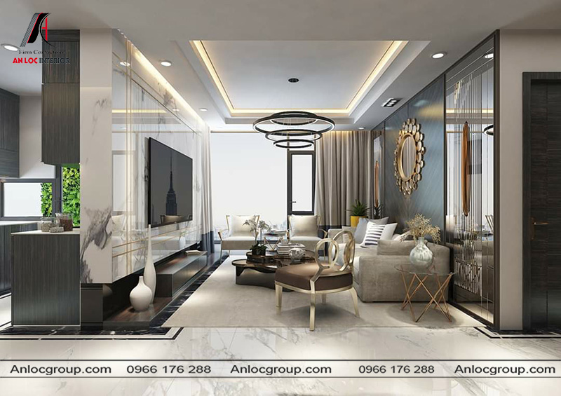 Mẫu 10 - Trần thạch cao phòng khách chung cư đơn giản tạo nền cho các họa tiết trang trí phức tạp bên dưới