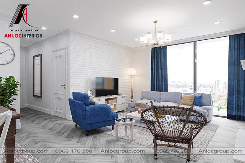 Mẫu 12 - Nội thất phòng khách chung cư đẹp theo phong cách Mỹ