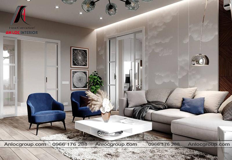 Mẫu 6 - Bố trí phòng khách chung cư nhẹ nhàng phong cách hiện đại kết hợp scandinavian