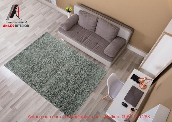 Thảm lông xù gam màu xanh như thảm cỏ độc đáo