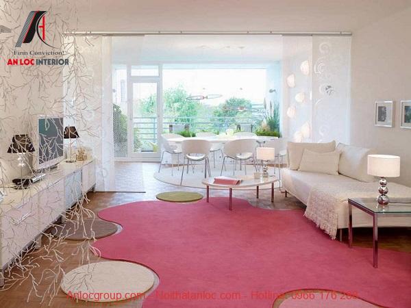 Thảm trải sàn màu hồng dành cho cô nàng điệu đà, nữ tính