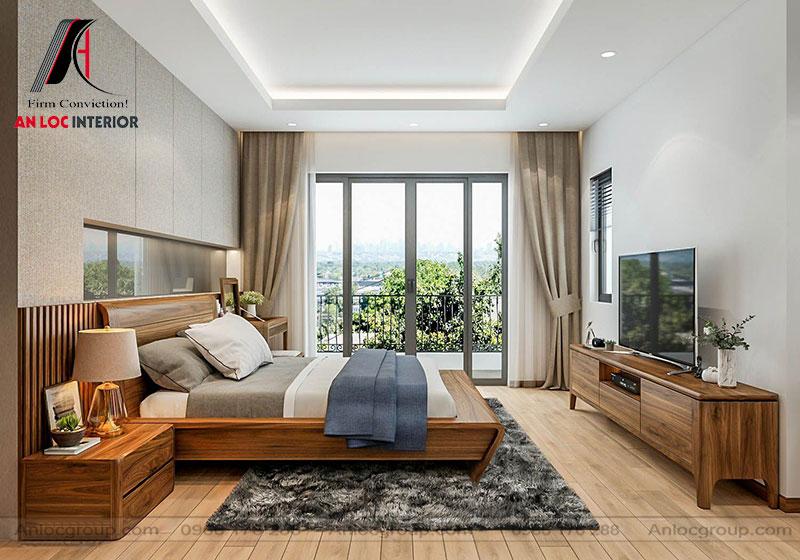 Mẫu 15: Thiết kế nội thất phòng ngủ 30m2 gỗ Óc Chó (Ảnh 2)