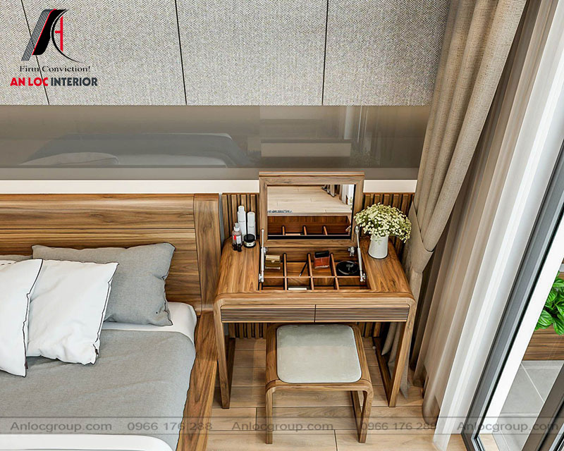 Mẫu 15: Thiết kế nội thất phòng ngủ 30m2 gỗ Óc Chó (Ảnh 3)