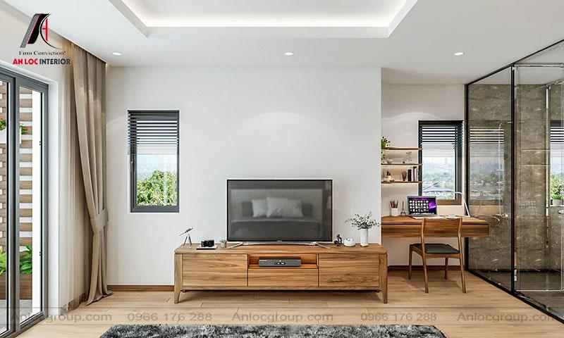Mẫu 15: Thiết kế nội thất phòng ngủ 30m2 gỗ Óc Chó (Ảnh 4)