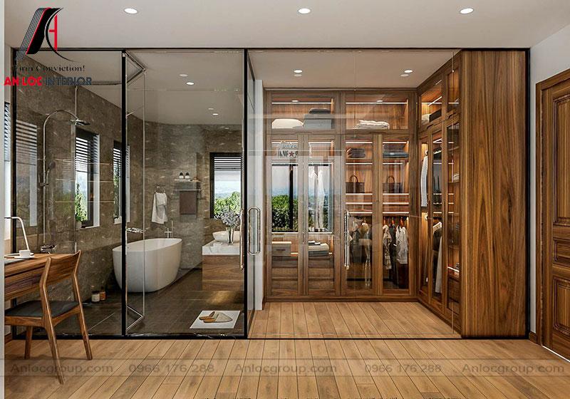Mẫu 15: Thiết kế nội thất phòng ngủ 30m2 gỗ Óc Chó (Ảnh 5)