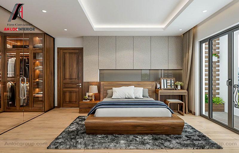 Mẫu 15: Thiết kế nội thất phòng ngủ 30m2 gỗ Óc Chó (Ảnh 1)