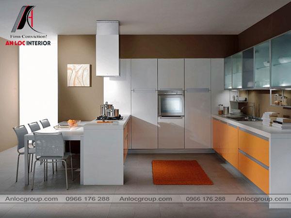 Nội thất phòng bếp nhà ống theo phong cách công nghiệp