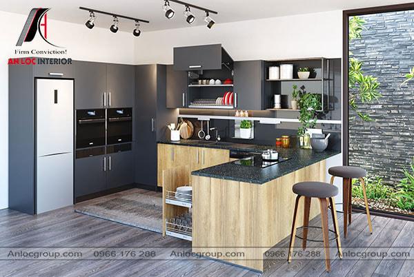 Nội thất phòng bếp cho nhà ống với tone màu đen