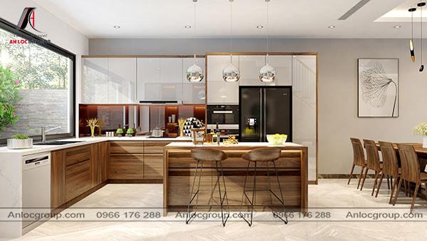 Thiết kế phòng bếp nhà ống có chiều rộng 5m