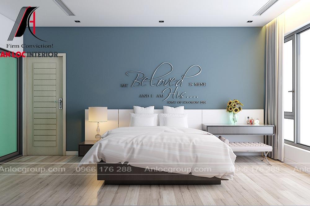 Nềm tường nổi bật tạo nên thiết kế phòng ngủ đẹp, hiện đại