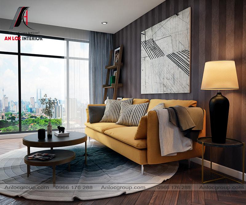 Mẫu 36 - Trang trí phòng khách chung cư nhỏ với sofa màu vàng, bàn trà xếp hình tròn, đèn để bàn hay kệ gỗ đơn giản