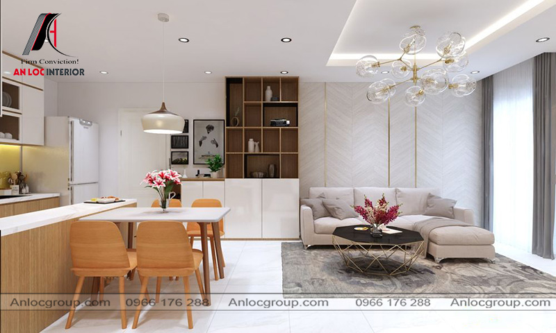 Mẫu 39 - Thiết kế phòng khách liền bếp chung cư nhỏ