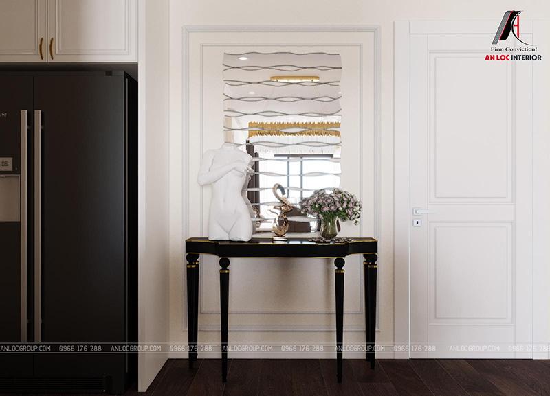 Thiết kế phòng khách liền bếp tân cổ điển