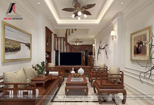 Thiết kế phòng khách nhà ống tân cổ điển