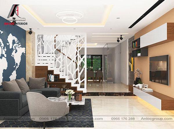 nội thất phòng khách nhà ống hiện đại
