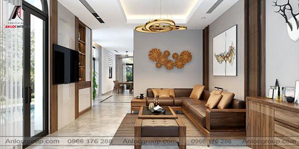 Thiết kế phòng khách cho nhà ống với gỗ Óc Chó