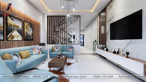 Phòng khách đẹp nhà ống màu xanh dương