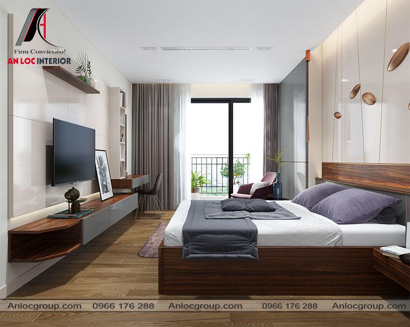 Mẫu 18 - Phòng ngủ đẹp hiện đại sử dụng chất liệu gỗ công nghiệp