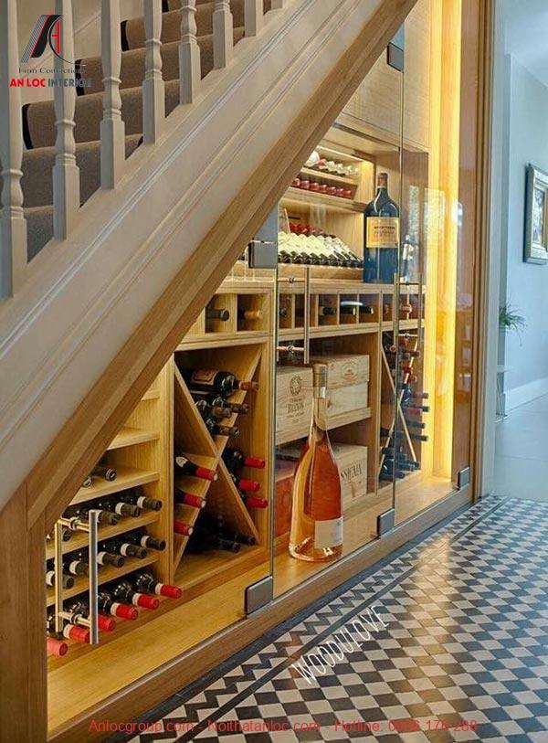 Mẫu 1 - Tủ rượu dưới gầm cầu thang