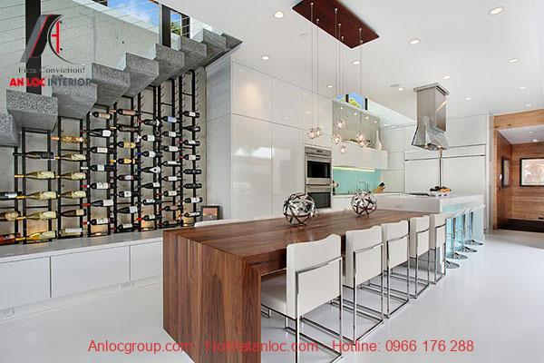 Mẫu 4 - Tủ rượu gầm cầu thang phòng bếp