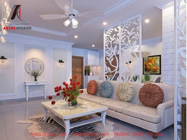Vách ngăn trắng phù hợp với tông màu và phong cách thiết kế của không gian