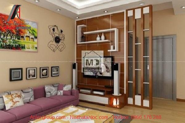 Vách ngăn gỗ đơn giản, sang trọng cho phòng khách