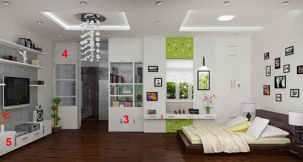 Vách ngăn tường thạch cao màu trắng làm căn nhà thêm phần sang trọng