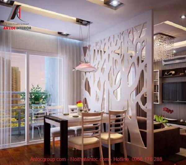 Vách ngăn thạch cao với họa tiết đơn giản cho phòng bếp