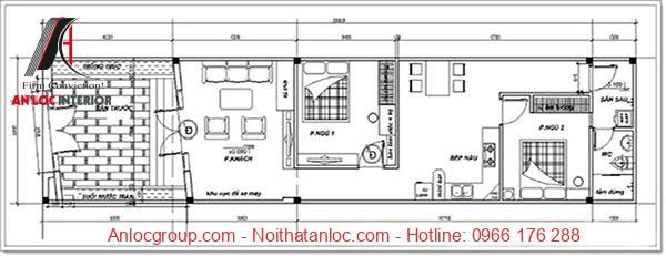Bản vẽ mặt bằng nhà cấp 4 mái bằng 5x20m