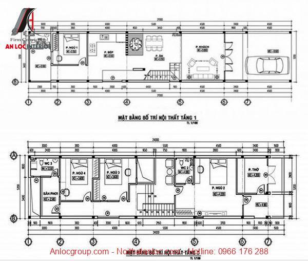 Bản vẽ thiết kế nhà cấp 4 5x20m