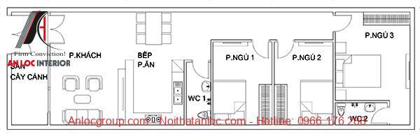Bản vẽ thiết kế nhà cấp 4 mái thái 5x20