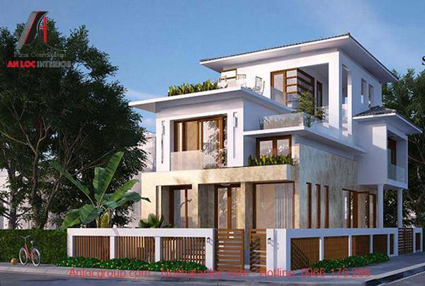 Thiết kế biệt thự kết hợp với màu xanh của cây cối mang đến không gian sống gắn kết thiên nhiên