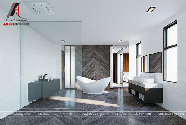 Nội thất phòng tắm trong biệt thự hiện đại, lịch sự