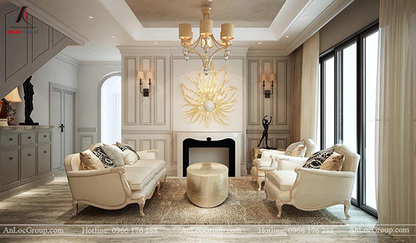 Phòng khách của biệt thự phong cách tân cổ điển
