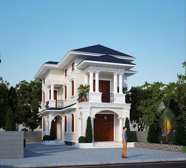 Biệt thự mini 2 tầng có kết cấu tương tự biệt thự thông thường