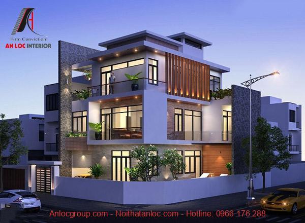 Biệt thự mini 3 tầng kết hợp với màu xanh tự nhiên