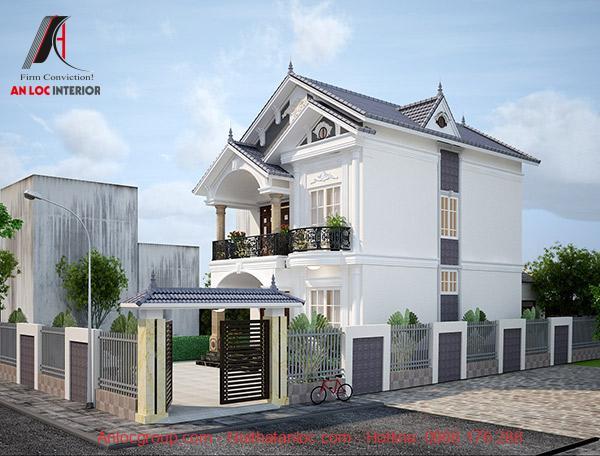 Gam màu trắng của mẫu biệt thự mini 2 tầng mái thái hiện đại, sang trọng