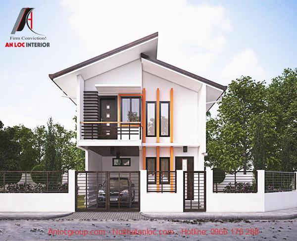 Kết cấu biệt thự 2 tầng mái lệch mini được xây dựng đơn giản kết hợp với gara ô tô