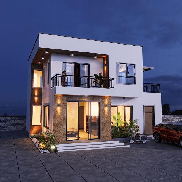 Biệt thự 2 tầng tích hợp nhiều ánh sáng từ cửa sổ và hệ thống đèn