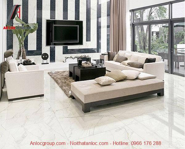 Phòng khách nổi bật với họa tiết vân đá